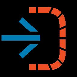 SMA OpCon Deploy software icon with blue arrow into orange dotted half square
